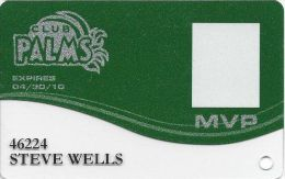 Palms Casino Las Vegas NV - PRINTED MVP Slot Card (Clear Bottom) Exp 04/30/10 - Casino Cards