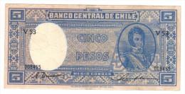 Chile 5 Pesos (n/d) VF, Free Ship. To USA. - Chile