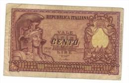 ITALY, 100 LIRE, 1951,  F ,   Free Ship. To USA. - [ 2] 1946-… : Républic