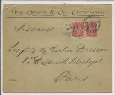 NORGE - 1897 - ENVELOPPE COMMERCIALE De CHRISTIANIA Pour PARIS - CACHET D'ARRIVEE SUR LE TIMBRE - Briefe U. Dokumente