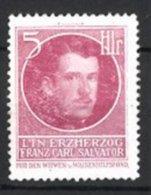Reklamemarke Portrait Leutnant Erzherzog Franz Carl Salvator, Witwen & Waisen Hilfsfond - Cinderellas