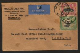 Kenya Uganda Tanganyika 1938 KG VI  Cover  Mombasa To  India   # 89501   Inde  Indien - Kenya, Uganda & Tanganyika