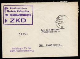 A3743) DDR ZKD Brief Von Bezirksbehörde Volkspolizei Neubrandenburg 9.5.69 - DDR