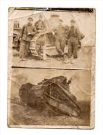 2 Photos : 1ère - Tank En Action. 2ième - 4 Tankistes Posant Devant Le Tank. 1914/1918 - Guerre, Militaire