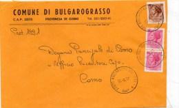 PUBBLICITARIA -PUBBLICITA - COMUNE BULGAROGRASSO PROVINCIA COMO  LETTERA - 6. 1946-.. Repubblica