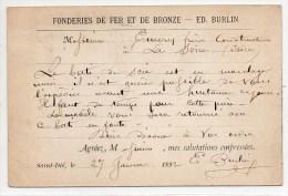 1890 - CARTE COMMERCIALE De SAINT DIE (VOSGES) -> FONDERIES DE FER ET DE BRONZE ED. BURLIN - France