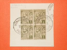 MONACO  Albert 1er - N°11 Bloc De 4 - 1c Oblitération Sur Fragment. Papier GC De 1919 Avec Embase Du 1 Prolongé. Superbe - Monaco
