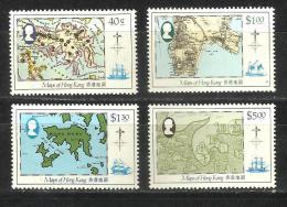 HONG KONG, HONGKONG, 1984, Maps Of Hong Kong, Globe, Geography,   Set 4 V,  MNH, (**) - Geographie