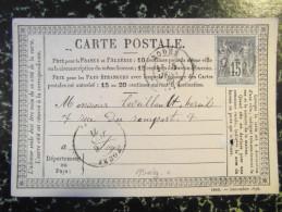 """1877 Carte Postale Precurseur Entier """" 2960 - Decembre 1876 """" En Angle Affranchie Sage N°77 Cad Rodez Rodes Aveyron - Entiers Postaux"""