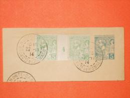 MONACO. N°22 Oblitéré Sur Fragment - 5 Centimes Albert 1er Millésime 4.  Superbe - Monaco
