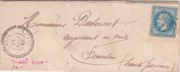 1868. LETTRE. N° 29. PERLÉ T22  GC 4400. AISNE. URCEL POUR FRONTON / 7554 - Marcophilie (Lettres)