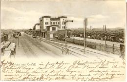 Gruss Aus CREFELD Bahnhof Gleisanlage Mit Zug Krefeld Grünlich Belebt 13.10.1902 Gelaufen - Krefeld