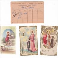 25590- Lot Trois 3 Images Pieuses Eglise Saint Servan -35 Malo- France + Assistance Messe Nelly Claude ALLIO 1947-1956
