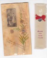25593- Lot Deux 2 Images Pieuses -reliques -souvenir Sainte Mission Medaille -fleurs Naturelles Nazareth Annonciation -