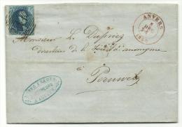 7 Op Brief - Anvers 5 DEC 1857 Naar Perulwez - 4 Boorden - Postmarks - Lines: Distributions