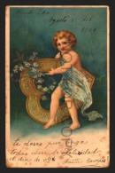 VALENTINES LOVE CHERUB CARRY A HART WITH FLOWERS  Vintage Original Ca1900 POSTCARD CPA AK (W4_2150) - San Valentino