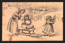 CHRISTMAS BUON NATALE GIRL ILLUSTRATED SLEDGE SNOW TREEE Vintage Original Ca1900 POSTCARD CPA AK (W4_2151) - Non Classificati