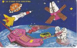 TARJETA DE ALEMANIA DE UN SATELITE Y COHETE ESPACIAL DE TIRADA 5000 (SATELLITE) - Astronomy