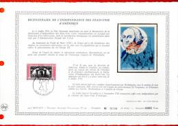 """MONACO 1976 : DAP 1er Jour Nté / Soie (2600 Ex.) """" BICENTENAIRE DE L´INDEPENDACE DES USA """" N° YT 1055. Parf état. - FDC"""
