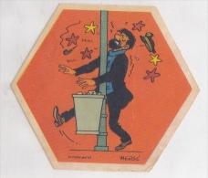 25599 Vignette Publicitaire Autocollante Octogonale !état!- TITIN HERGE -la Vache Qui Rit Fromage -capitaine Haddock ? - Publicités
