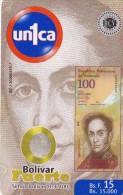 TARJETA DE VENEZUELA CON UNA MONEDA Y BILLETE DE 20 BOLIVARES (COIN-BANKNOTE) - Sellos & Monedas