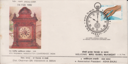 India  1992  Clocks  Bombay  Cover   # 89691   Inde Indien - Clocks