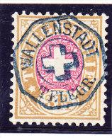 Heimat SG WALLENSTADT TELEGR. Vollstempel Auf Telegraphen Marken 3Fr. 1881 #18 - Télégraphe