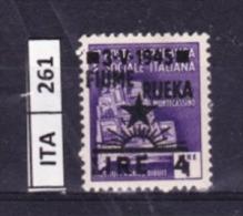 ITALIA, FIUME, 1945, OCCUPAZIONE YUGOSLAVA, L.4 SU 1, USATO