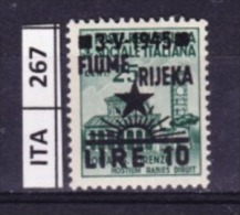 ITALIA, FIUME, 1945, OCCUPAZIONE YUGOSLAVA,  10L. Su 25 Cent, Nuovo