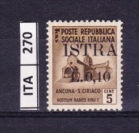 ITALIA, ISTRIA, 1945, OCCUPAZIONE YUGOSLAVA,  L. 0,5  Su 25 Cent, Nuovo
