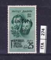 ITALIA, ISTRIA, 1945, OCCUPAZIONE YUGOSLAVA,  Espresso 25 Cent, Nuovo