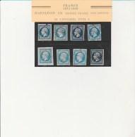 NAPOLEON III NON DENTELE  8 EXEMPLAIRES N°14 OBLITERES TB AVEC NUANCES  ANNEE1854 - 1862 Napoleon III