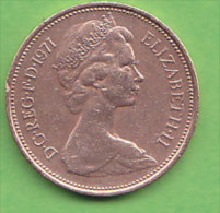 GRANDE BRETAGNE ELIZABETH II    2 NEW  PENCE   ANNEE 1971    LOT100383 - 1971-… : Monnaies Décimales