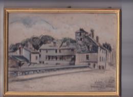 Ville De Rennes France 35 -dessin Original Vieilles Maisons Du Pont Saint Martin - Rue Saint Malo Lavoir - Dessins