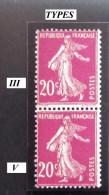 Semeuse 20 C. Lilas Rose 190  VARIETE  Deux Types Différents Se Tenant - RARE - Prix Attractif - 1906-38 Sower - Cameo