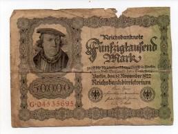 119 K ) 50000 MARK - 1922 - [ 3] 1918-1933 : Weimar Republic