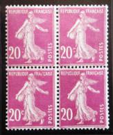 Semeuse 20 C. Lilas Rose 190  Bloc De 4 Avec  VARIETE  Un Exemplaire Sans Le C Et Deux Partiellement ! - 1906-38 Semeuse Con Cameo