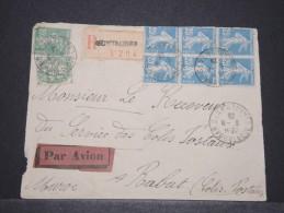 MAROC - Env Par Avion Et Recommandée Pour Le Service Des Colis Postaux De Rabat - Août 1925 - A Voir - P17181 - Maroc (1891-1956)