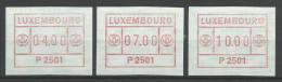 TIMBRES D´AFFRANCHISSEMENT DU LUXEMBOURG  N° 1  (P2501) - SERIE INDIVISIBLE (4F,7F Et 10F) NEUFS SANS CAHARNIERE. - Postage Labels