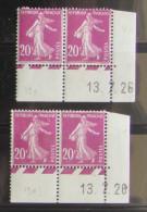 Semeuse 20 C. Lilas Rose 190 : Paire De 2 Paires Coin Daté Différentes - 1906-38 Semeuse Camée