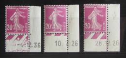 Semeuse 20 C. Lilas Rose 190 : 3 Timbres Avec Coin Daté 2 Types Différents - 1906-38 Säerin, Untergrund Glatt