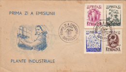 38199- BEETROT, COTTON, FLAX, SUNFLOWER, INDUSTRIAL PLANTS, COVER FDC, 1955, ROMANIA - Plants