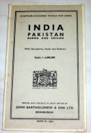 Map Carte India Pakistan Burma And Ceylon - 80X100 Cm - The Geographical Institute Edinburgh 1955 - Geographical Maps