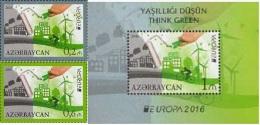 Az  1138-1140 Bl.164 MNH** Azerbaijan Aserbaidschan 2016 Europe Stamps 2016 Set+Ss Think Green M - 2016