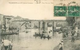 Cpa - Villeneuve Sur Lot  - Le Pont , Une Fête Sur L ´eau  ,animée     E747 - Villeneuve Sur Lot