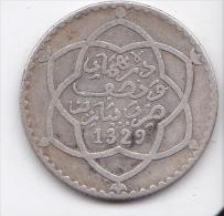 MONEDA DE PLATA DE MARRUECOS DE 2 1/2 DIRHAMS DEL AÑO 1911  (1329) (COIN) SILVER,ARGENT. - Marruecos
