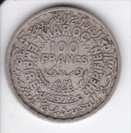 MONEDA DE PLATA DE MARRUECOS DE 100 FRANCS DEL AÑO 1953 (COIN) SILVER,ARGENT. - Marruecos