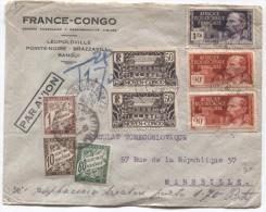 AEF-Moyen Congo Lettre Avion C.Brazaville En1938  V.Marseille Taxée 1.60 Frs PR2690 - A.E.F. (1936-1958)