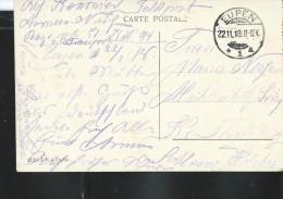 Carte-vue De Liège (La Passerelle - Colorisé )   En Franchise Postale:  Feldpost: Eupen 22/11/1918 - Occupation 1914-18