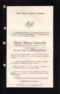POSTEL UCCLE Baronne Clara De BROQUEVILLE Soeur Marie-Gabrielle Supérieur Institut Ste-Elisabeth 1866-1927 Doodsbrief - Obituary Notices